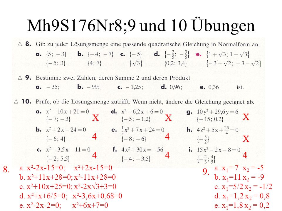 Mh9S176Nr8;9 und 10 Übungen X. 