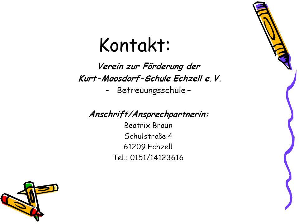 Kontakt: Verein zur Förderung der Kurt-Moosdorf-Schule Echzell e.V.