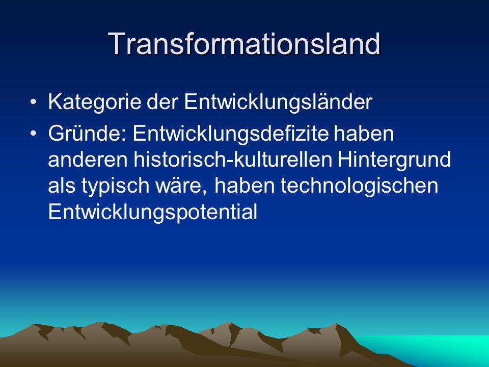 Transformationsland Kategorie der Entwicklungsländer