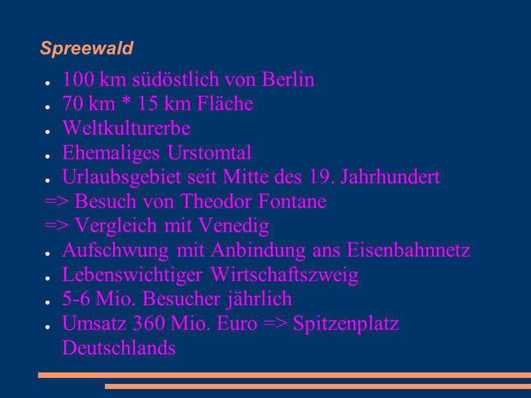 100 km südöstlich von Berlin 70 km * 15 km Fläche Weltkulturerbe