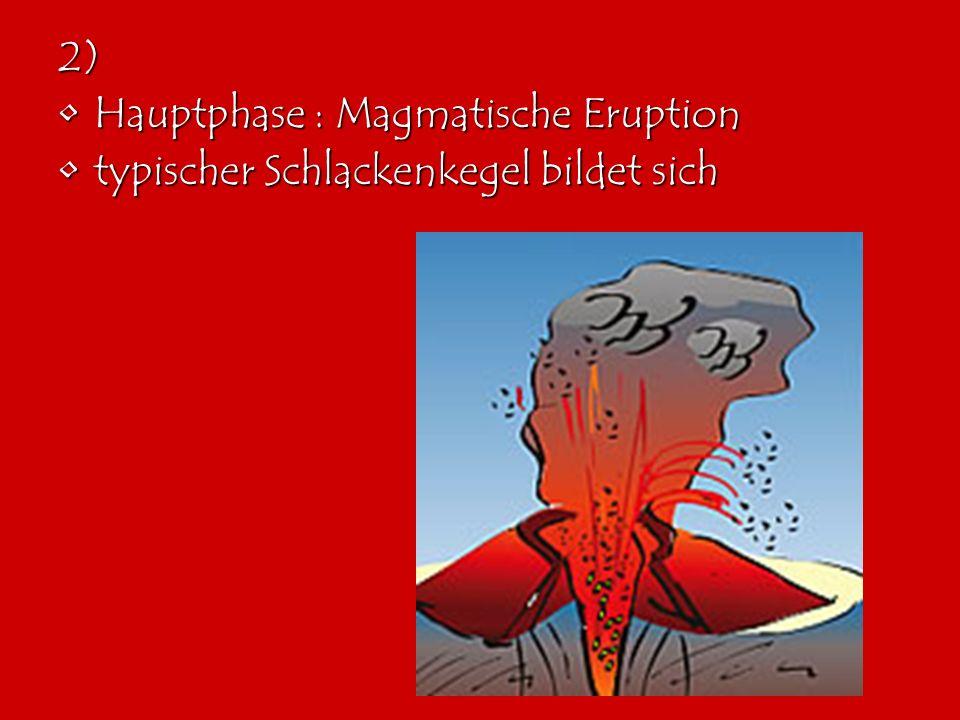 2) Hauptphase : Magmatische Eruption typischer Schlackenkegel bildet sich