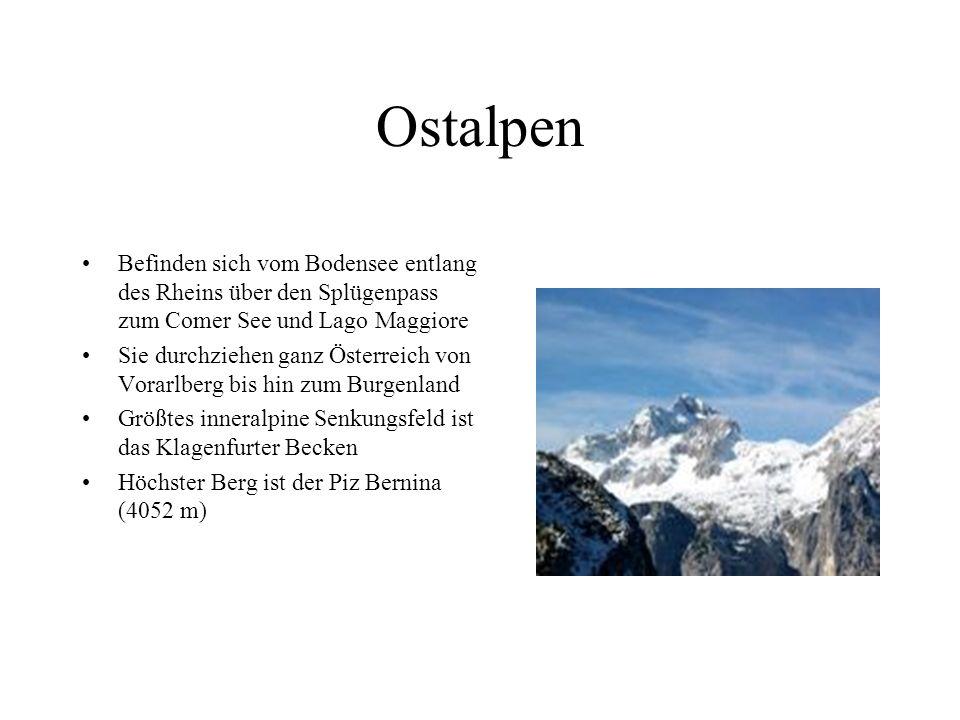 Ostalpen Befinden sich vom Bodensee entlang des Rheins über den Splügenpass zum Comer See und Lago Maggiore.