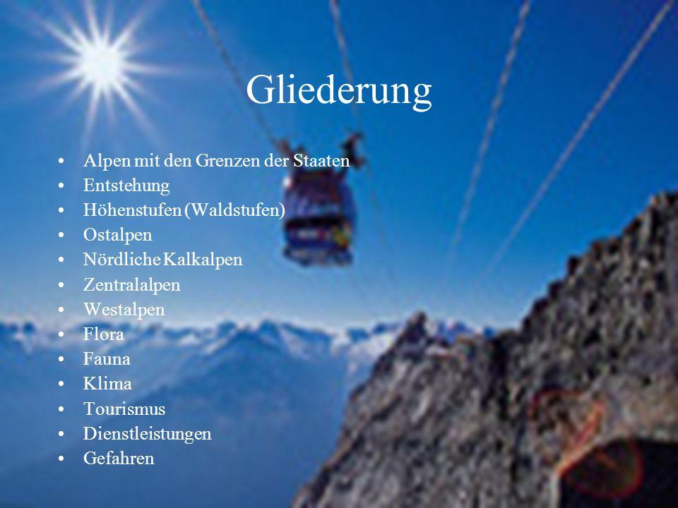 Gliederung Alpen mit den Grenzen der Staaten Entstehung