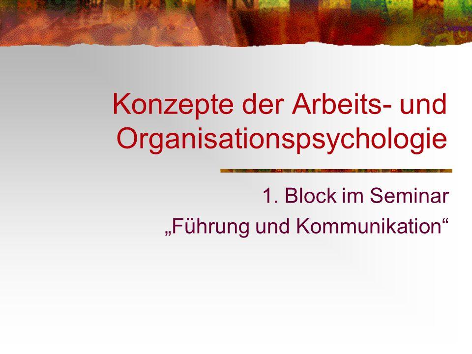 Konzepte der Arbeits- und Organisationspsychologie