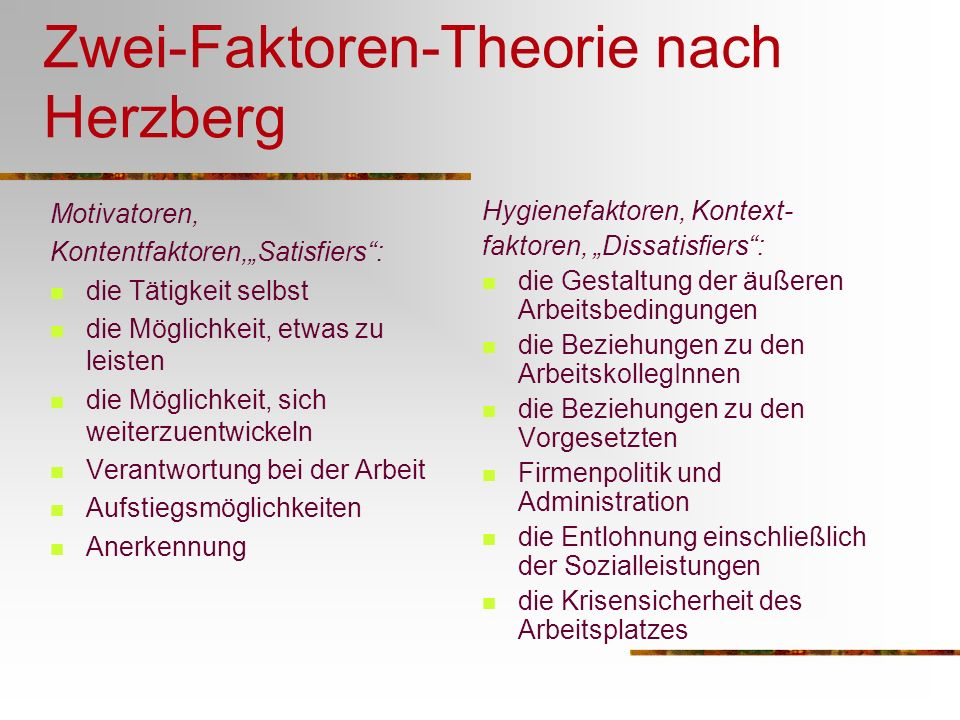 Zwei-Faktoren-Theorie nach Herzberg