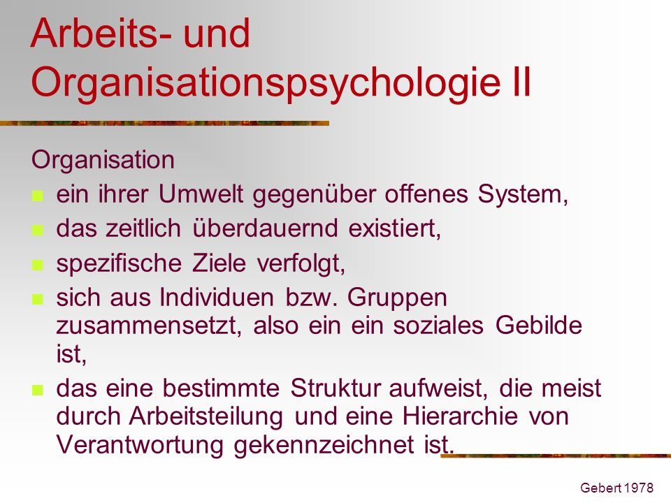 Arbeits- und Organisationspsychologie II