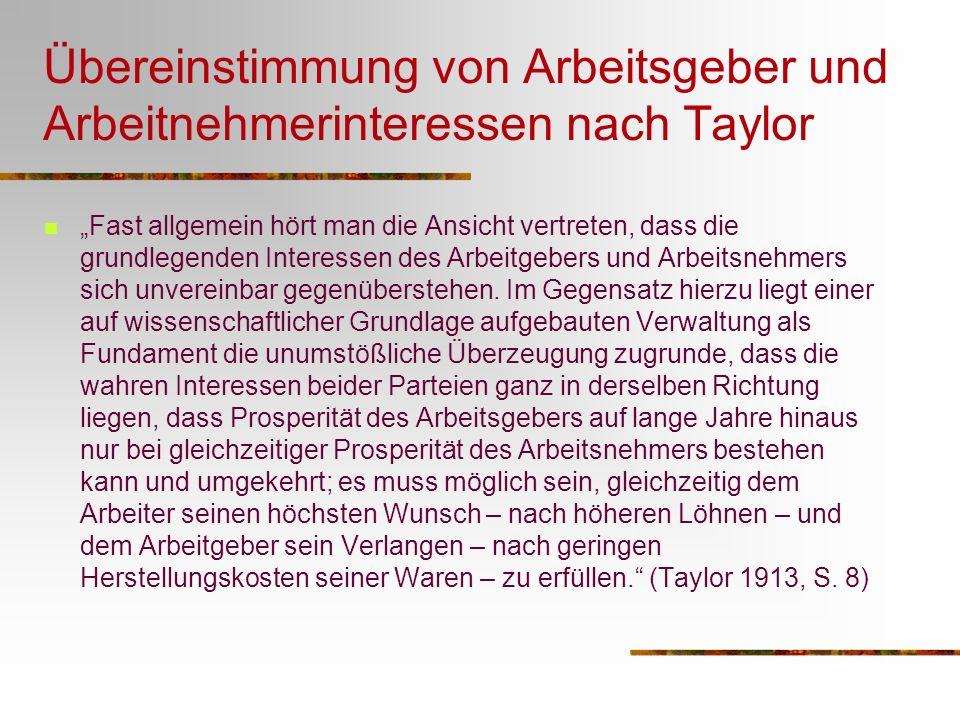 Übereinstimmung von Arbeitsgeber und Arbeitnehmerinteressen nach Taylor