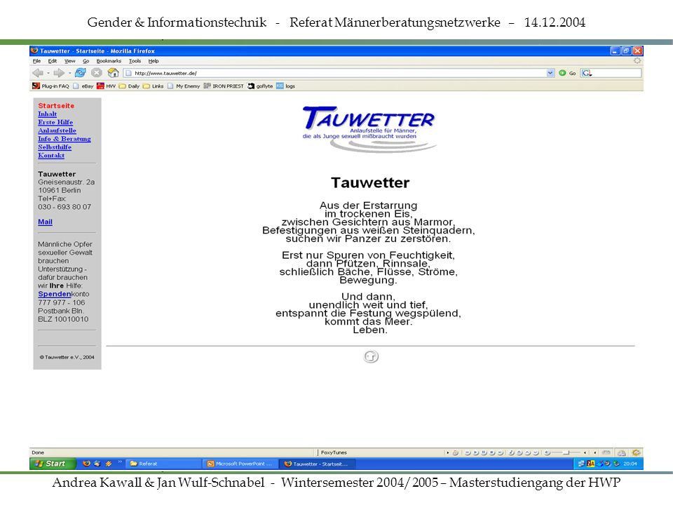 Homepage www.tauwetter.de