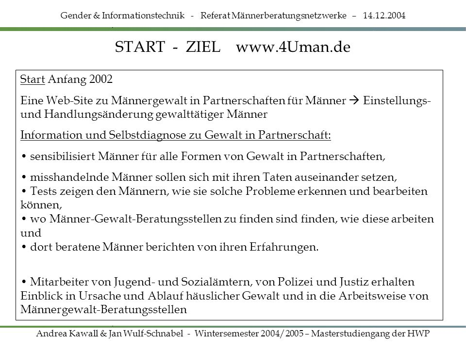 START - ZIEL www.4Uman.de Start Anfang 2002