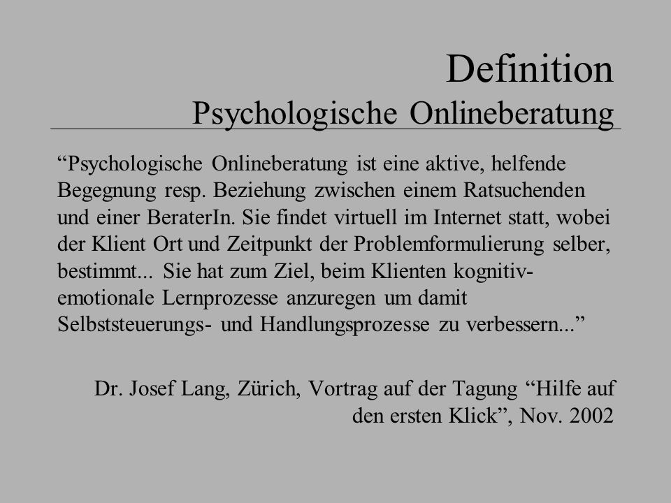 Definition Psychologische Onlineberatung