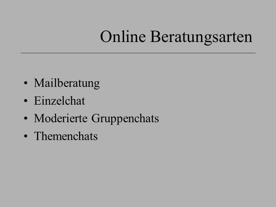 Online Beratungsarten