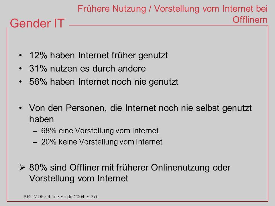 Frühere Nutzung / Vorstellung vom Internet bei Offlinern