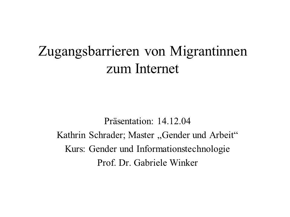 Zugangsbarrieren von Migrantinnen zum Internet