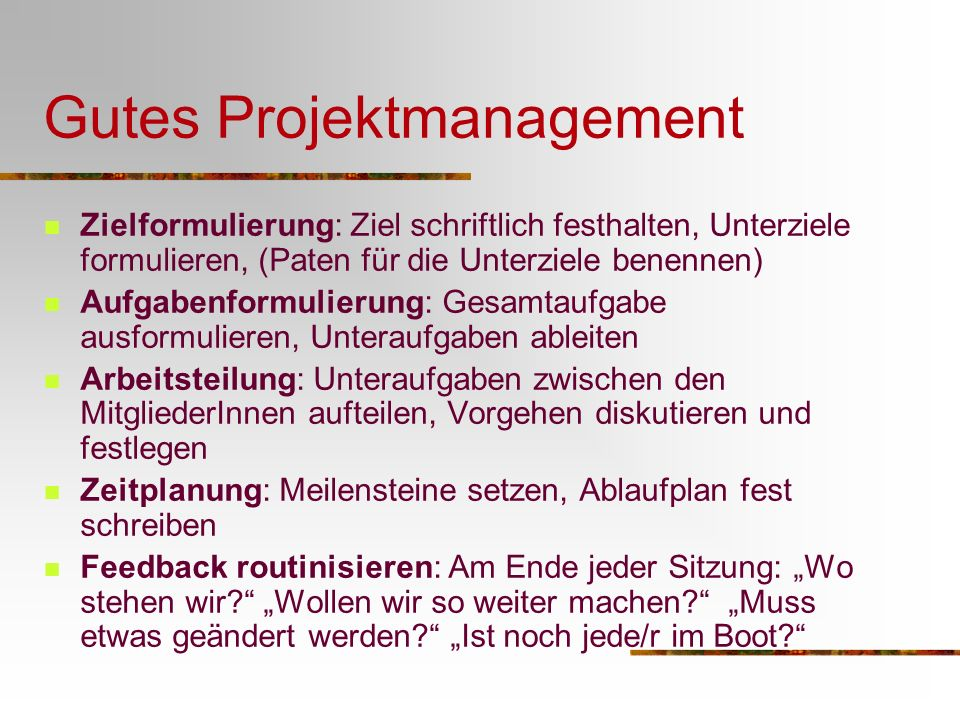 Gutes Projektmanagement