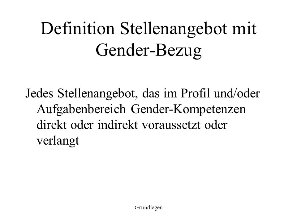 Definition Stellenangebot mit Gender-Bezug