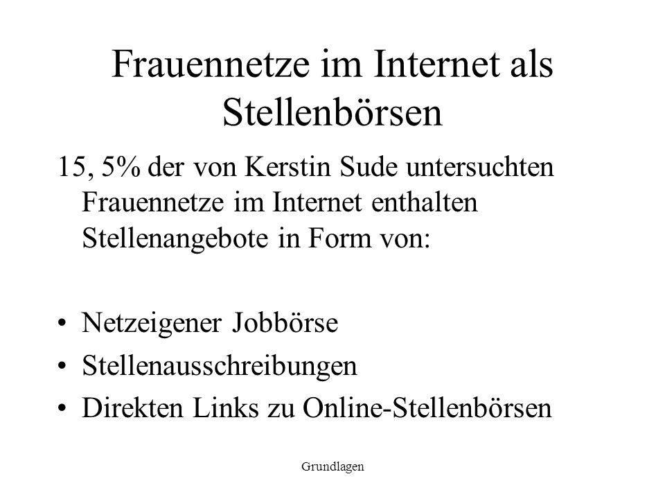 Frauennetze im Internet als Stellenbörsen
