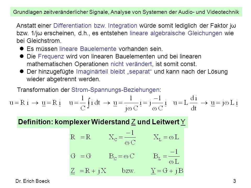 Definition: komplexer Widerstand Z und Leitwert Y