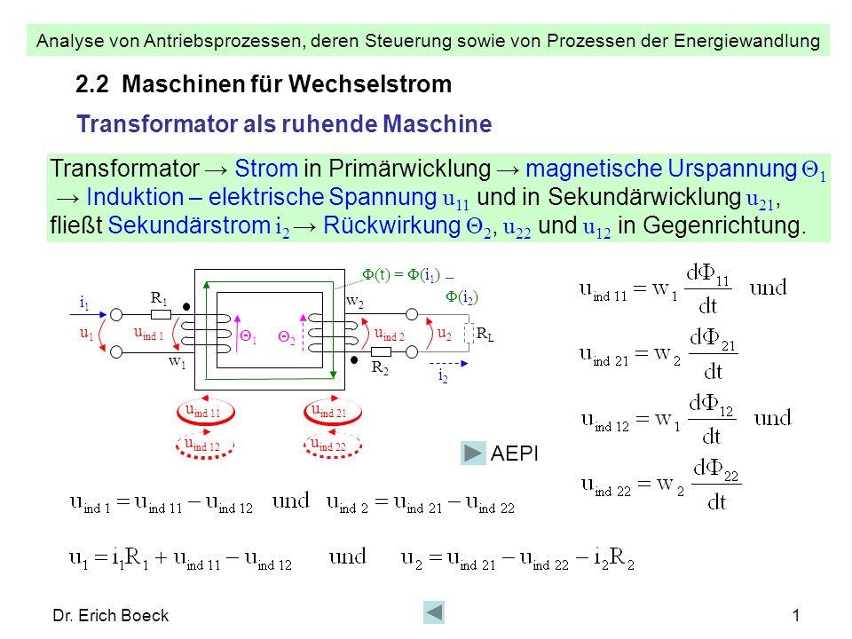 2.2 Maschinen für Wechselstrom Transformator als ruhende Maschine