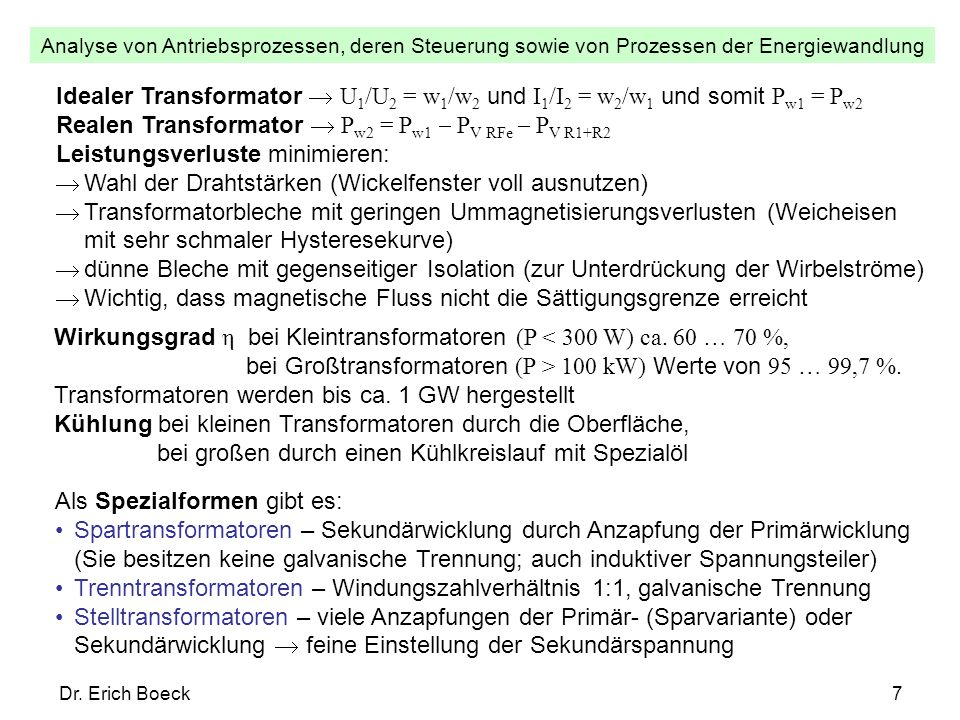 Realen Transformator  Pw2 = Pw1  PV RFe  PV R1+R2