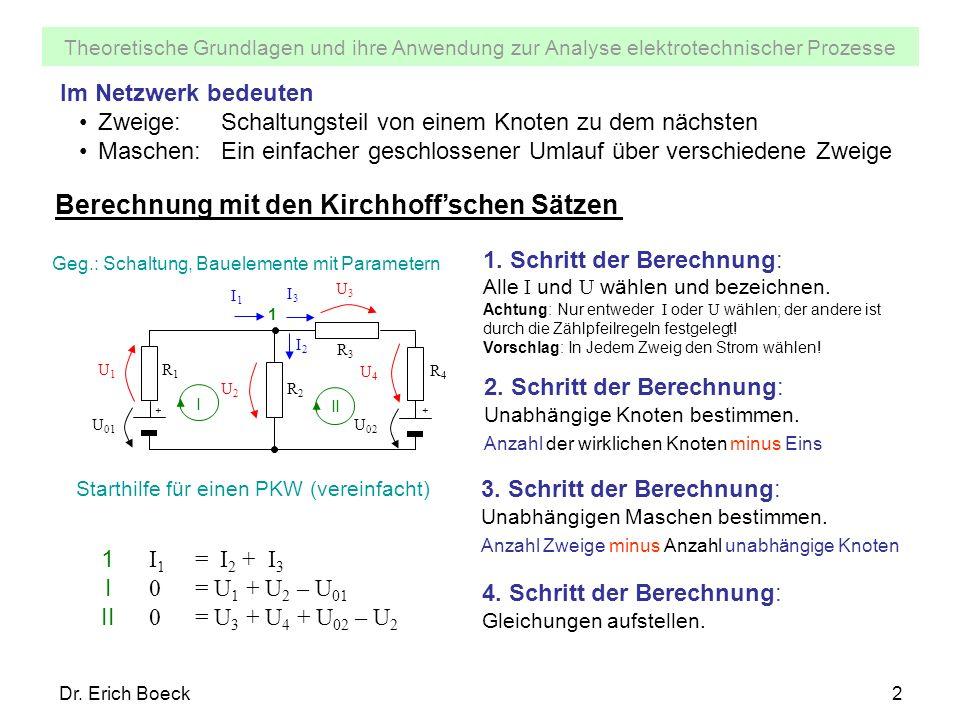 Berechnung mit den Kirchhoff'schen Sätzen