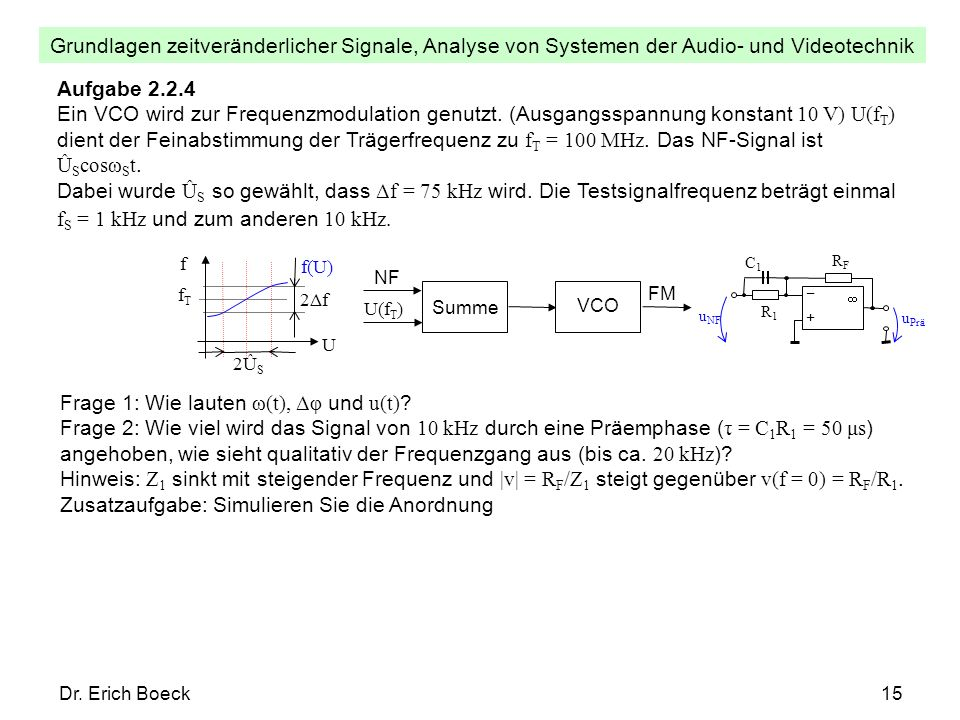Frage 1: Wie lauten ω(t), Δφ und u(t)