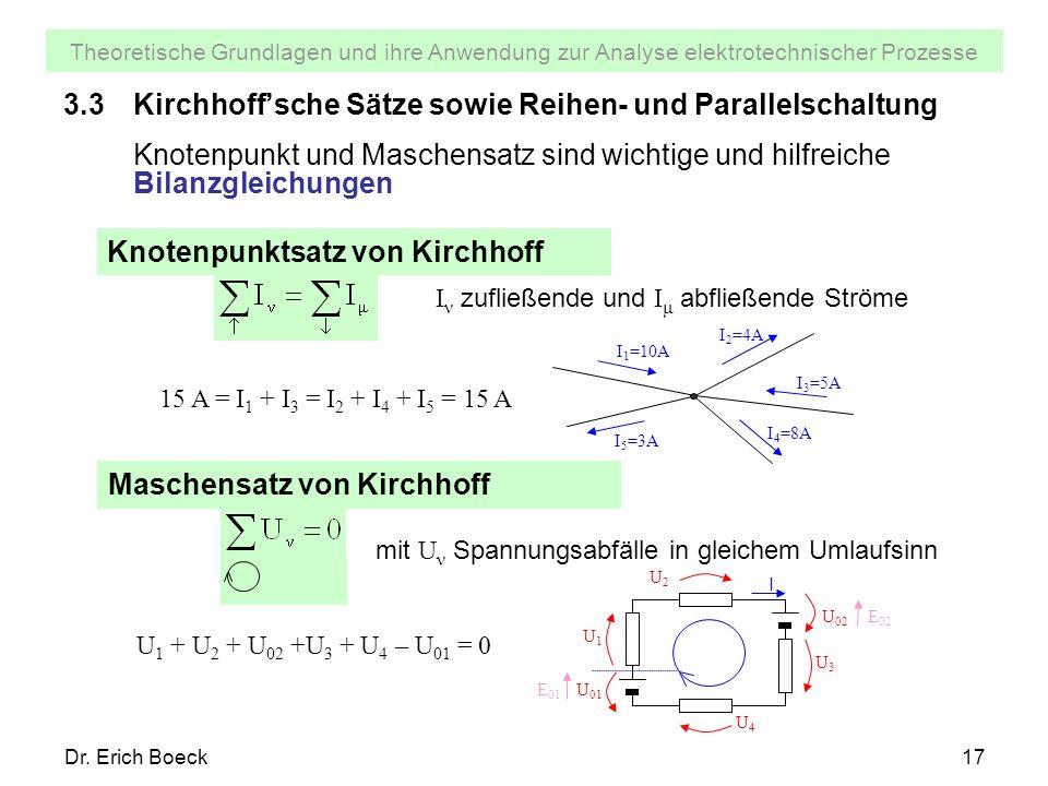 3.3 Kirchhoff'sche Sätze sowie Reihen- und Parallelschaltung
