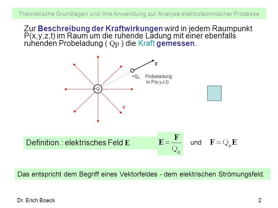 Definition.: elektrisches Feld E