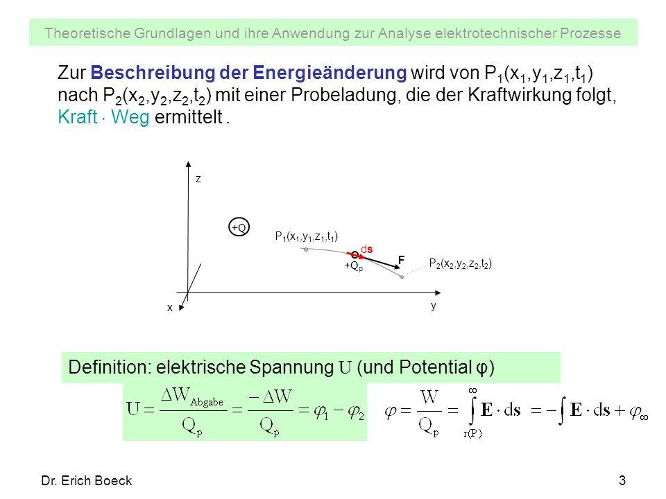 Definition: elektrische Spannung U (und Potential φ)