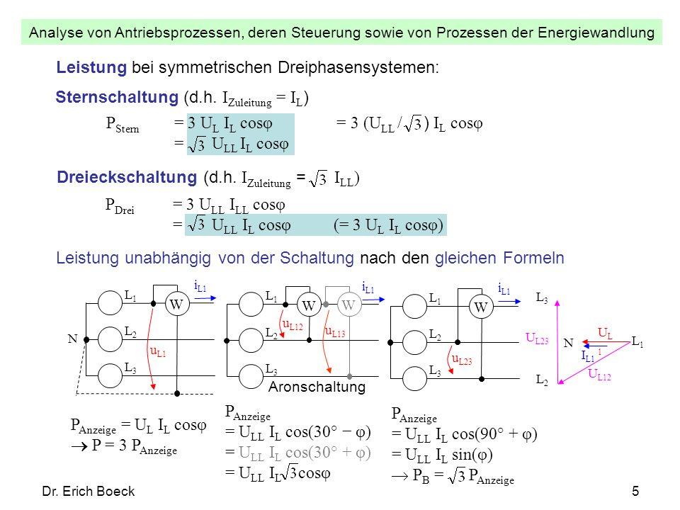 Leistung bei symmetrischen Dreiphasensystemen: