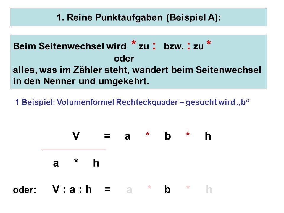 1. Reine Punktaufgaben (Beispiel A):