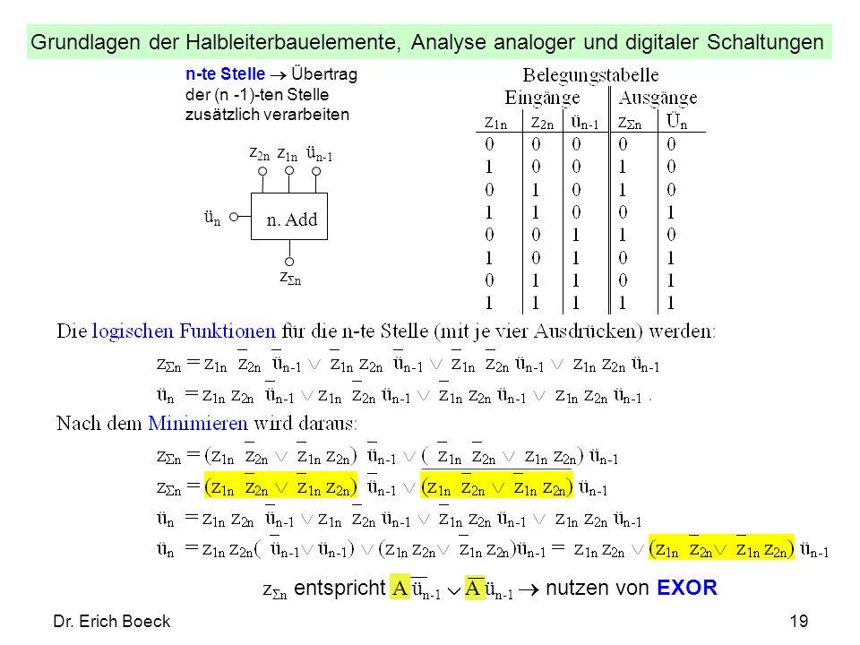 zΣn entspricht A ün-1  A ün-1  nutzen von EXOR
