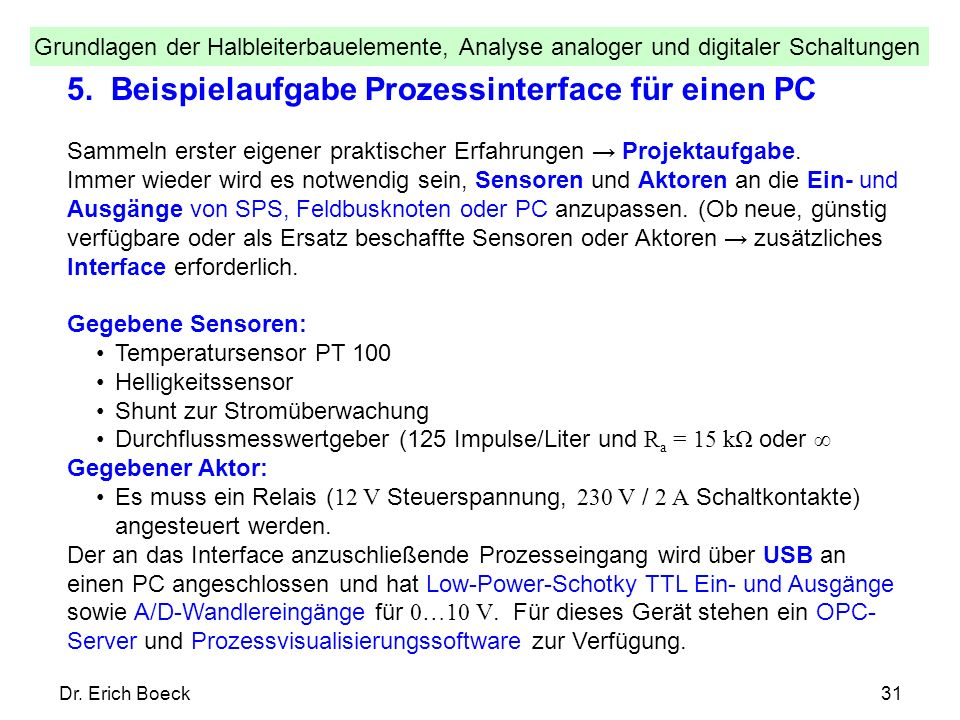 5. Beispielaufgabe Prozessinterface für einen PC