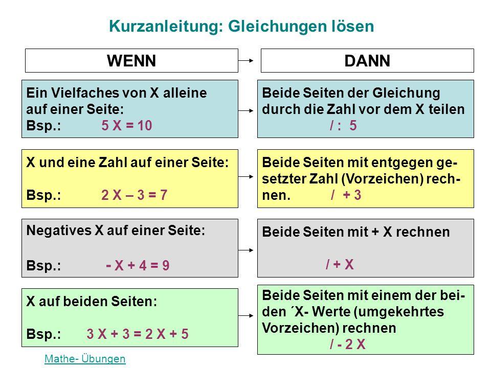 Kurzanleitung: Gleichungen lösen