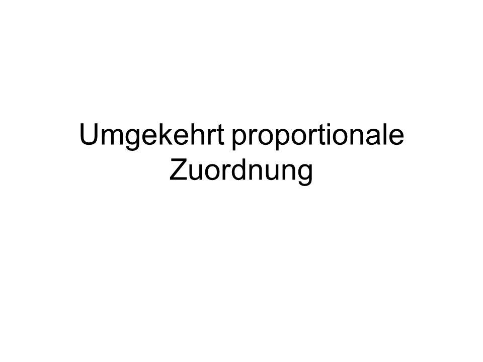 Umgekehrt proportionale Zuordnung