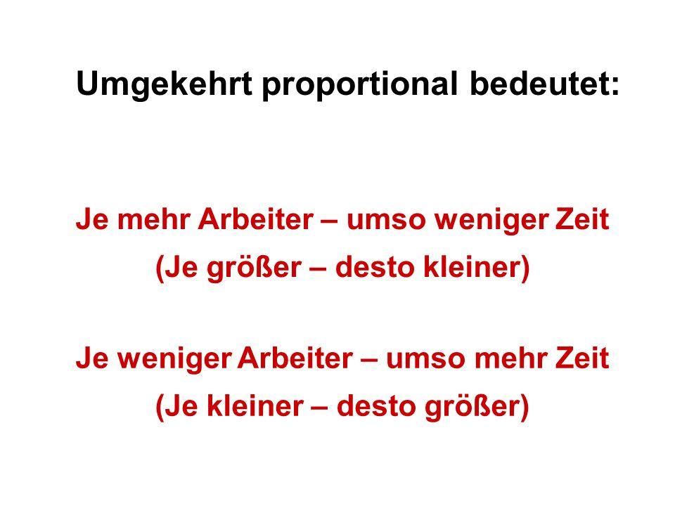 Umgekehrt proportional bedeutet: