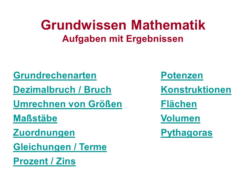 Grundwissen Mathematik Aufgaben mit Ergebnissen - ppt video online ...