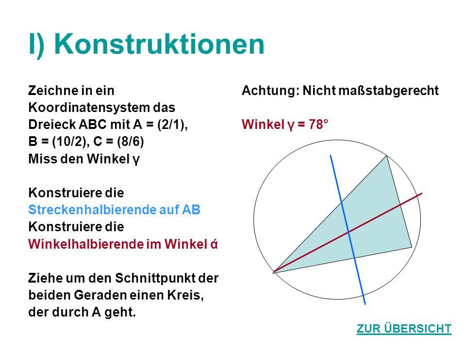 I) Konstruktionen Zeichne in ein Koordinatensystem das