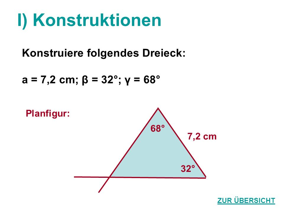 I) Konstruktionen Konstruiere folgendes Dreieck: