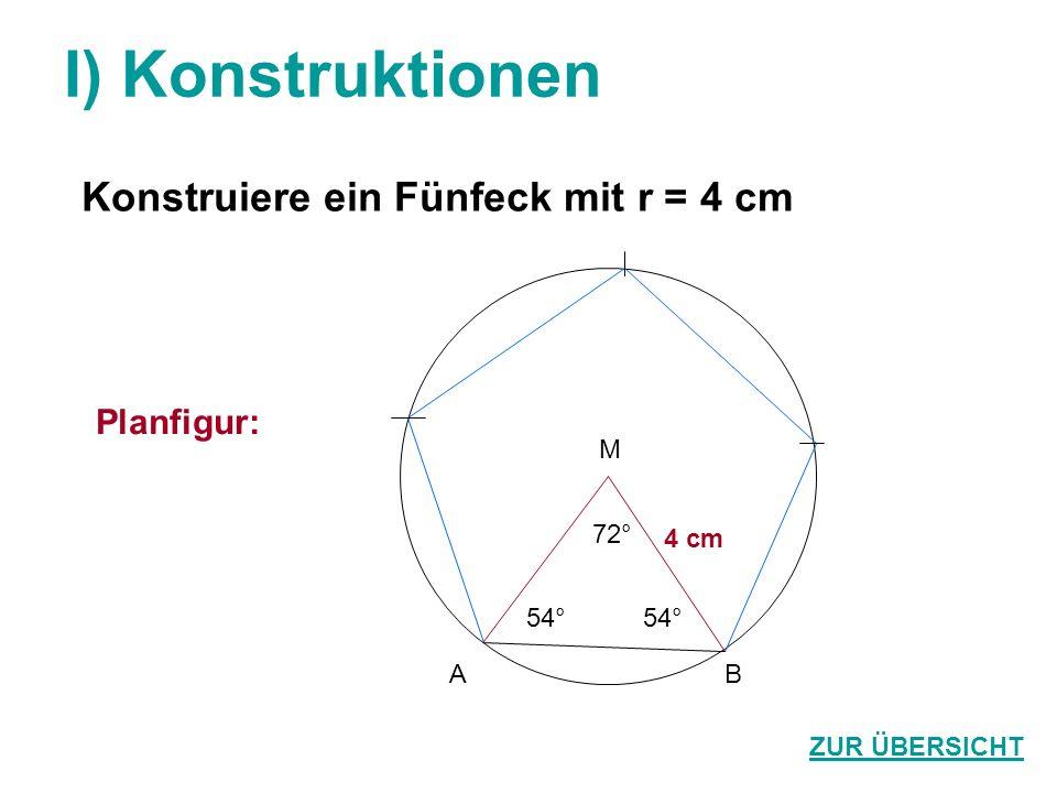 I) Konstruktionen Konstruiere ein Fünfeck mit r = 4 cm Planfigur: M