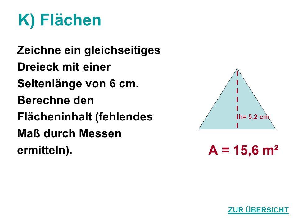 K) Flächen A = 15,6 m² Zeichne ein gleichseitiges Dreieck mit einer