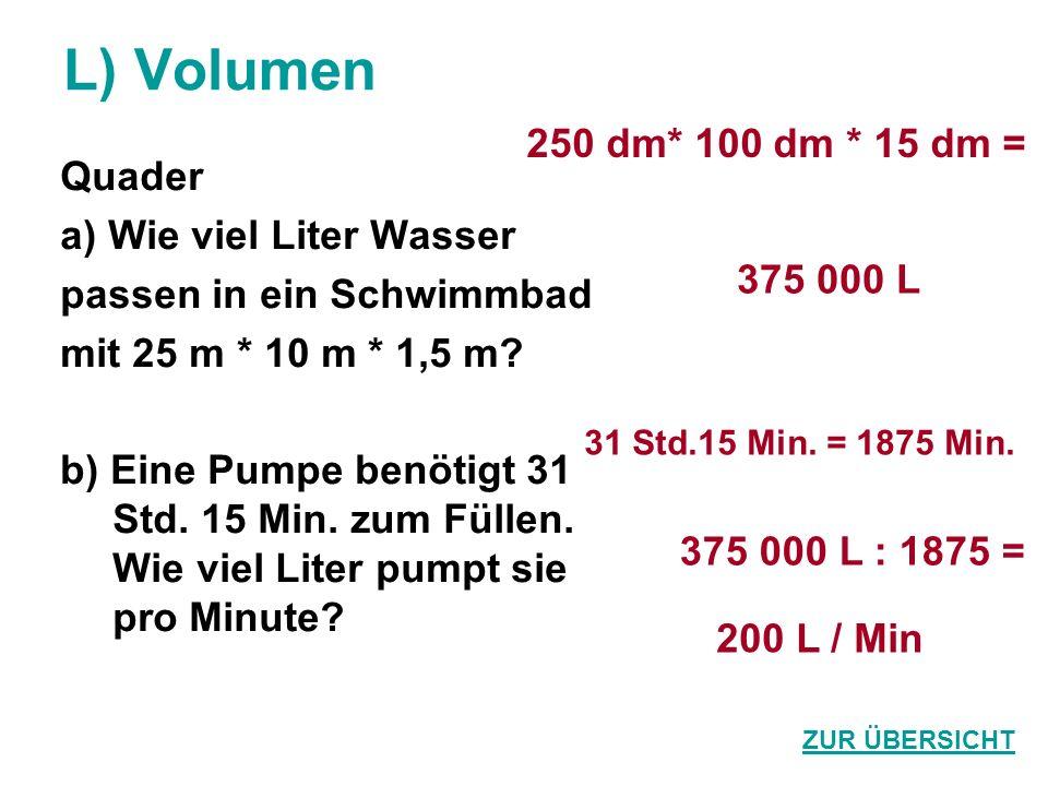 L) Volumen 250 dm* 100 dm * 15 dm = Quader a) Wie viel Liter Wasser