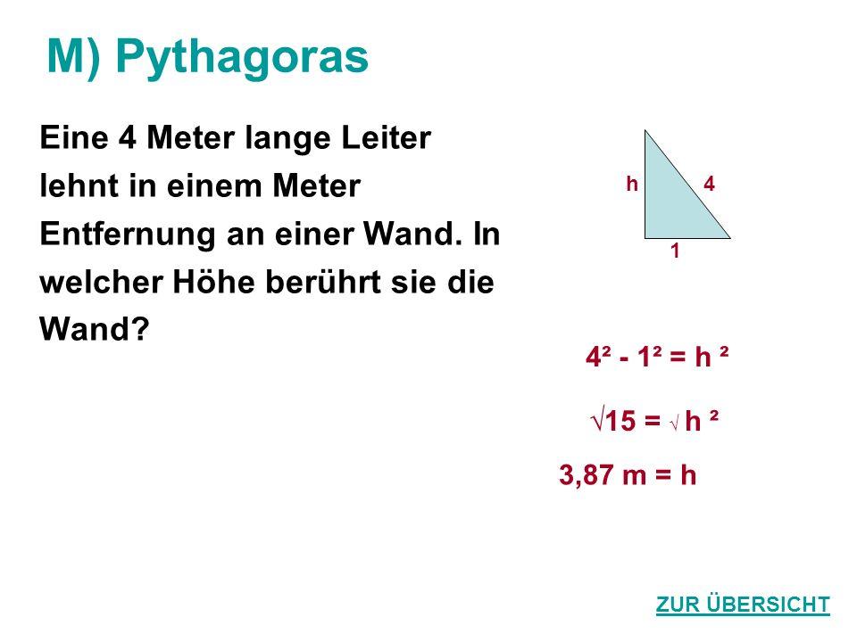 M) Pythagoras Eine 4 Meter lange Leiter lehnt in einem Meter