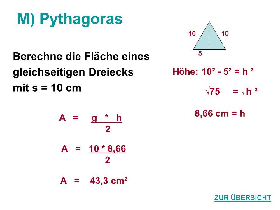 M) Pythagoras Berechne die Fläche eines gleichseitigen Dreiecks
