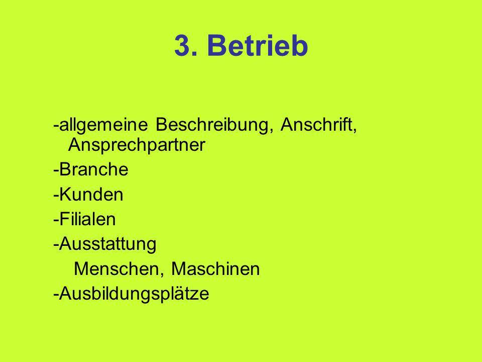 3. Betrieb -allgemeine Beschreibung, Anschrift, Ansprechpartner