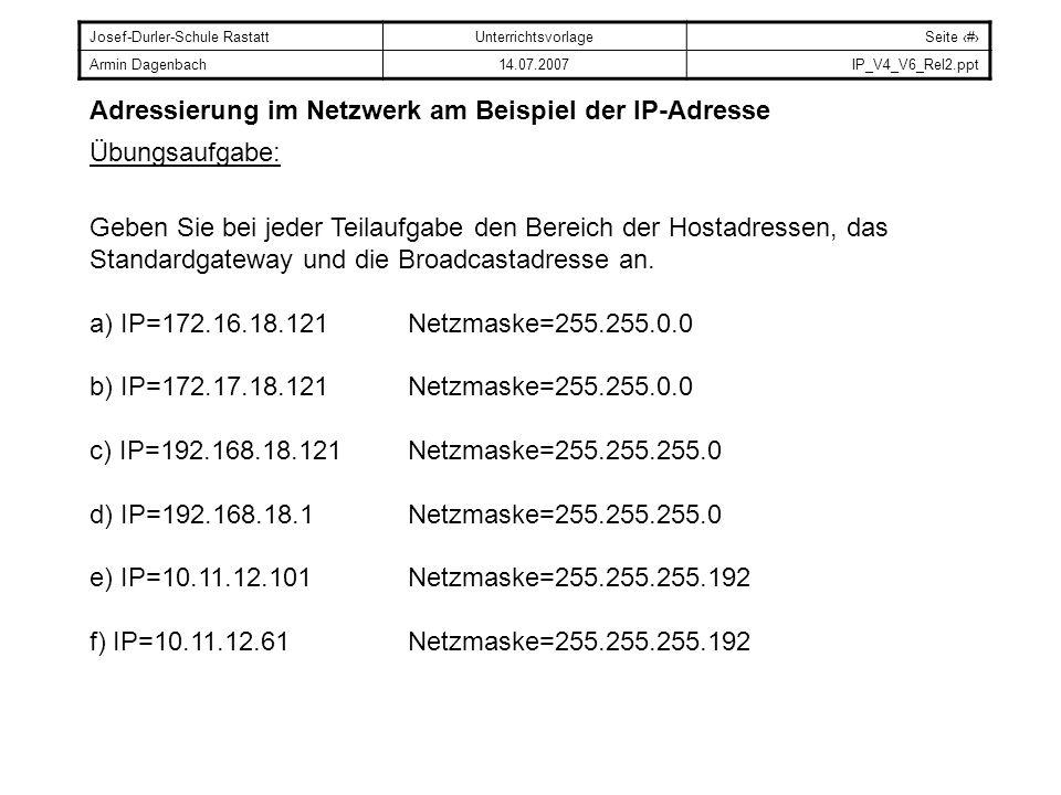 Adressierung im Netzwerk am Beispiel der IP-Adresse