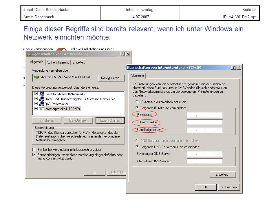 Einige dieser Begriffe sind bereits relevant, wenn ich unter Windows ein Netzwerk einrichten möchte: