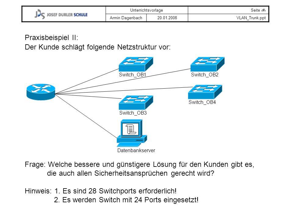Der Kunde schlägt folgende Netzstruktur vor: