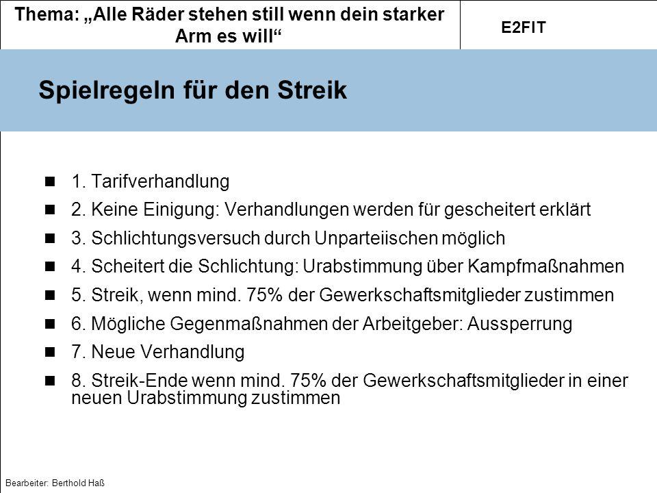 Spielregeln für den Streik