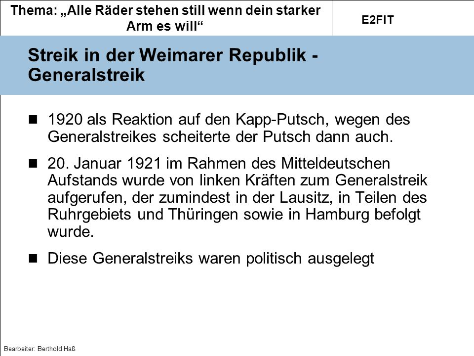 Streik in der Weimarer Republik - Generalstreik