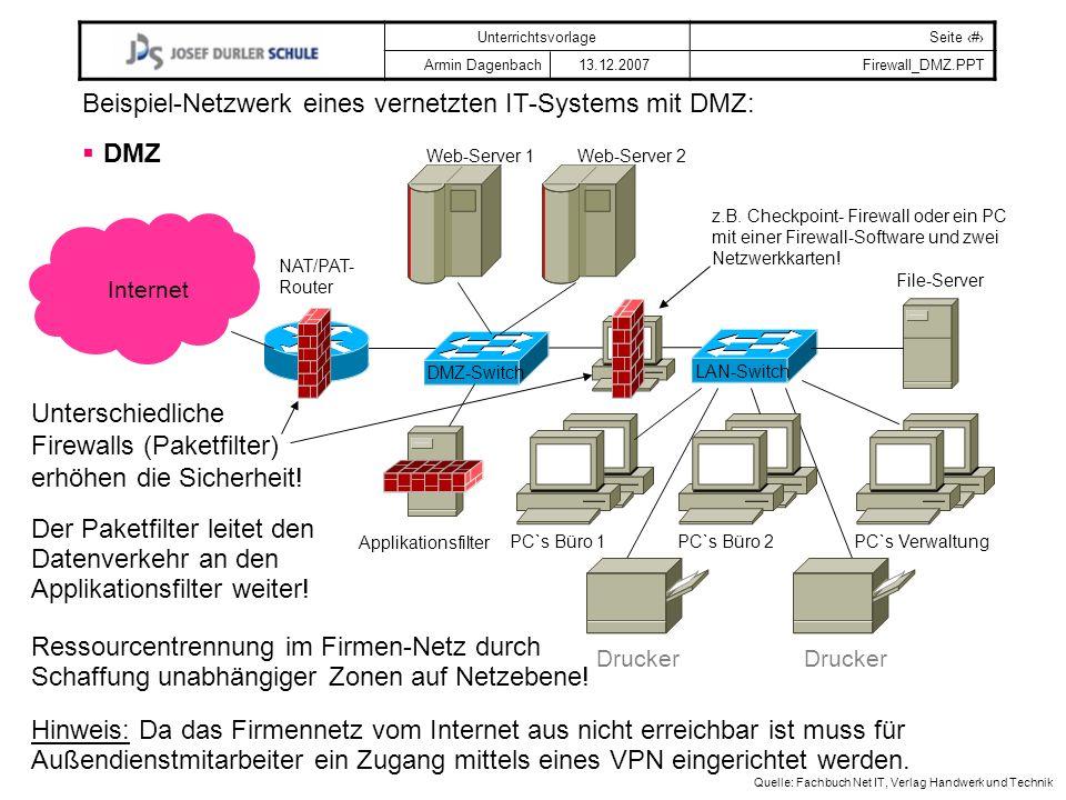 Beispiel-Netzwerk eines vernetzten IT-Systems mit DMZ: